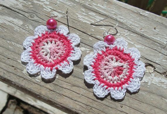 Pink And White Color Floral with Pink Beads Traditional Statement Crochet Earring Sets