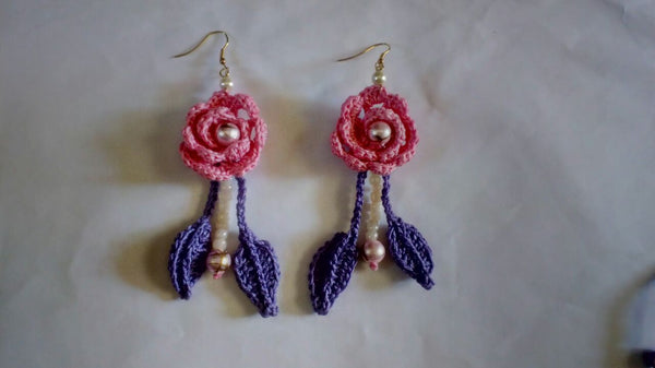 Pink Rose Purple Leaves With White Beads Traditional Statement Crochet Earring Sets