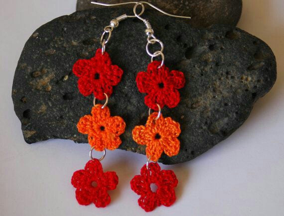 Red And Orange Color Floral in Loops Traditional Statement Crochet Earring Sets