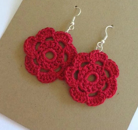 Red Color Floral Traditional Statement Crochet Earring Sets