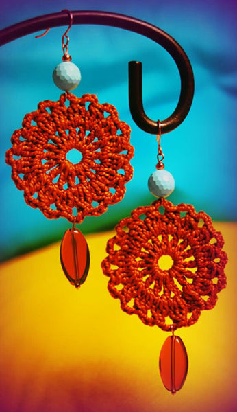 Red Color Floral With Red Beads Traditional Statement Crochet Earring Sets