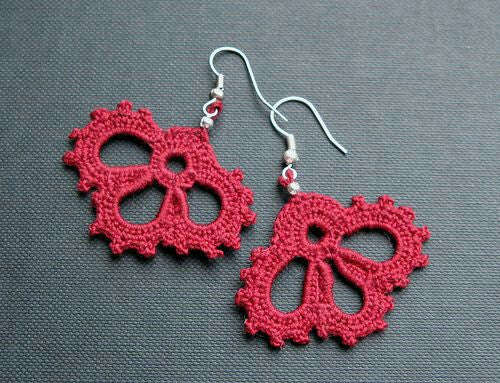 Red Color Half Moon Floral Traditional Statement Crochet Earring Sets