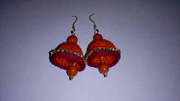 Red Color Jhumka Traditional Statement Crochet Earring Sets