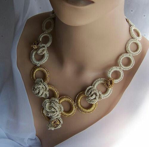 Tribal Crochet Jewellery Set in  Circular Loops with Flowers