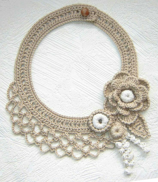 Tribal Crochet Jewellery Set in Cream Color Floral Design