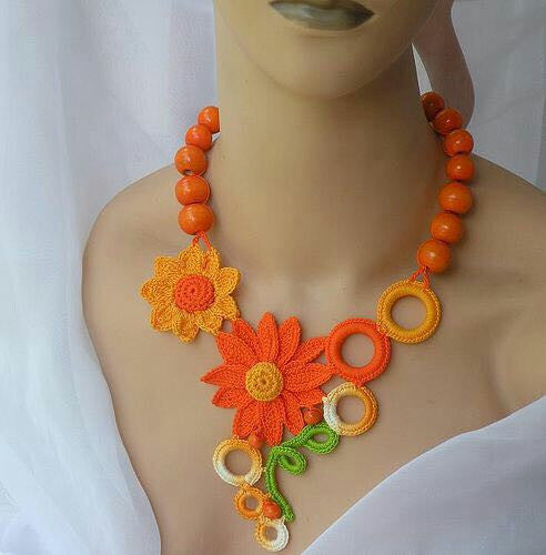 Tribal Crochet Jewellery Set in Orange Florals-Circular Loops with Orange Beads