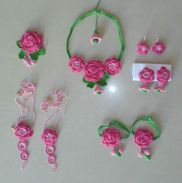 Tribal Crochet Jewellery Set in Pink Color Floral Design with Anklet-Three Earring Sets Set-HeadLocket