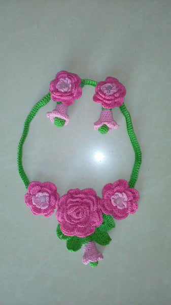 Tribal Crochet Jewellery Set in Pink Color Floral Design with Earring Sets Set