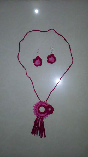 Tribal Necklace in Pink Color Crochet Jewellery Set