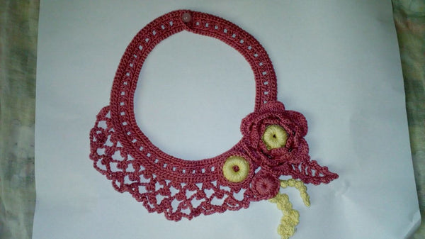 Tribal Crochet Jewellery Set in Raspberry Color Floral Design