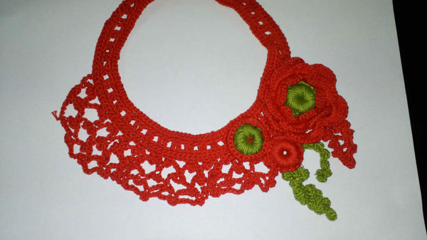 Tribal Crochet Jewellery Set in Red Color Floral Design