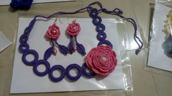 Tribal Crochet Jewellery Set in Violet Circular Loops and Pink Color Floral Design at Center with Earring Sets Set