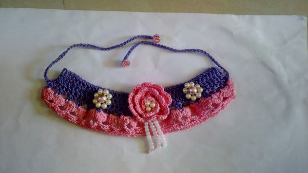 Tribal Crochet Jewellery Set in Violet and Pink Color Floral Design at Center with Golden CreamWhite Beads