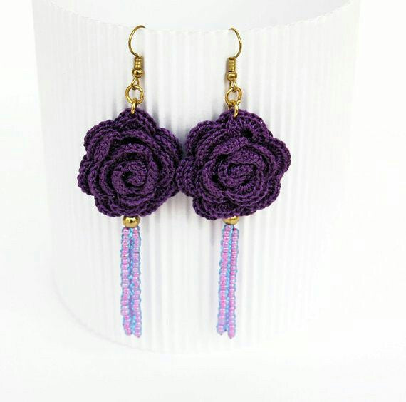 Violet  Rose With Purple Chained Beads Traditional Statement Crochet Earring Sets