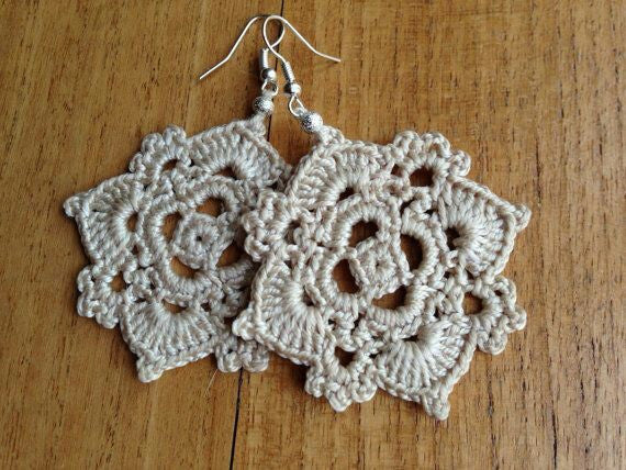 White Color Floral Traditional Statement Crochet Earring Sets