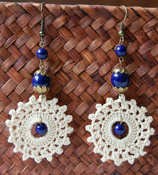 White Floral With Blue Beads Traditional Statement Crochet Earring Sets