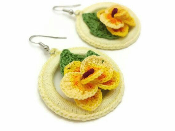 Yellow Color Floral with Green Leaves Traditional Statement Crochet Earring Sets