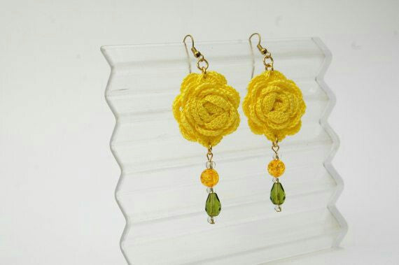 Yellow Rose With Yellow Green Chained Beads Traditional Statement Crochet Earring Sets