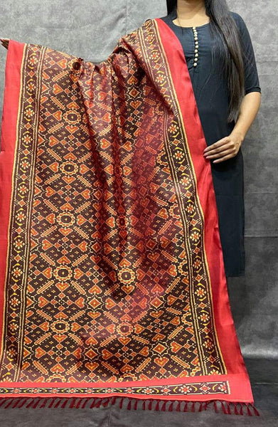 Currant Red  Handwoven Pure Silk Patola Dupatta