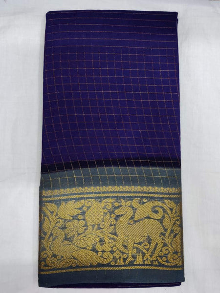 Dark Blue-Madurai Sungudi Sarees - Double side Jari Border