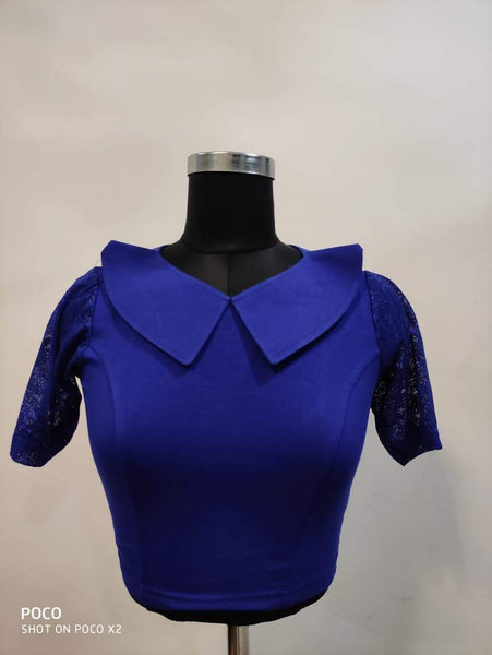 Fancy V Shape Heavy Phantom Silk Blouse - Dark Blue
