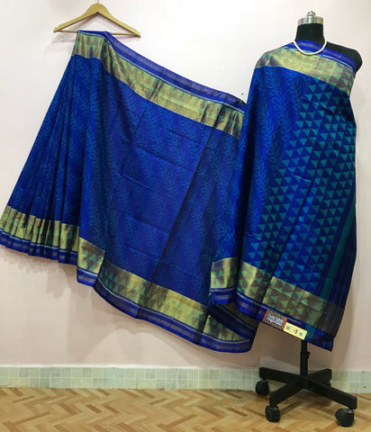Dark Blue Triangle Designed with Golden Border Patola Silk Saree-PPSRE-017