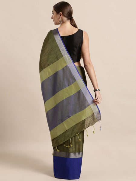 Dark Blue and Dark Green Attractive Big Border Angolla Linen Saree (Blend)