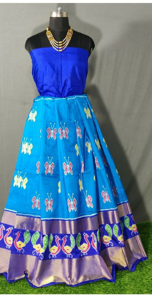 Dark Blue and Light Blue Peacock Border Ikkat Pure Silk Lehenga