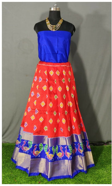 Dark Blue and Orange Ikkat Pure Silk Lehenga