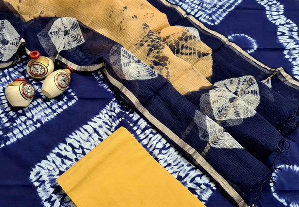 Dark Blue and Yellow Handblock Unstitched Printed Cotton Suit