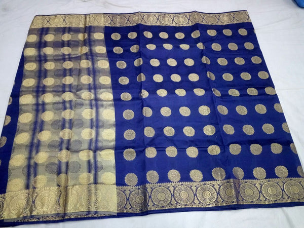 Dark Blue with Golden Chakra Designed Border Paithani Saree-PAITHANI-095