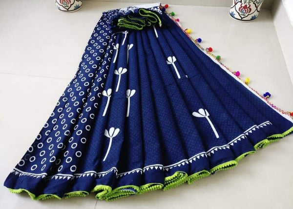 Dark Blue with Light Green Border Jaipuri Cotton Saree