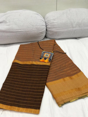 Dark Brown and Burly Wood Checked Silk Cotton Saree-SRE-259