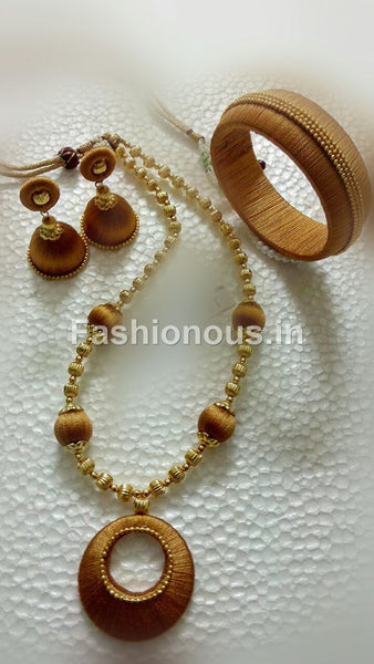 Dark Golden Silk Thread Jewellery Set