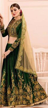 Dark Green Embroidered Bridal Lehenga