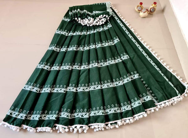 Dark Green Jaipuri Cotton Saree