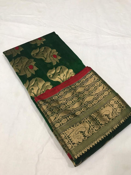Dark Green Pure Katan Chanderi Silk Saree