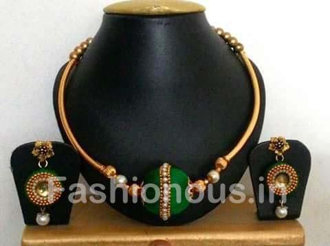 Dark Green Silk Thread Jewellery Set-STJSW-111