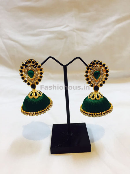 Dark Green Stone Studded Droplet Silk Thread Jhumkas-STJH-023