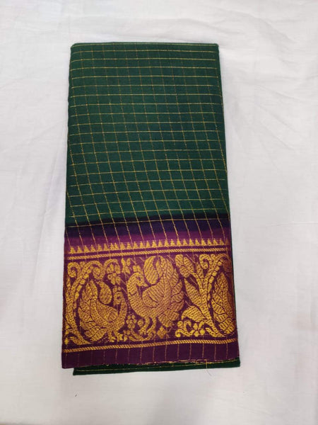 Dark Green and Purple-Madurai Sungudi Sarees - Double side Jari Border