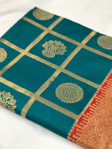 Dark Green and Red with Floral Pot Zari Work Banarasi Silk Saree-SRE-135