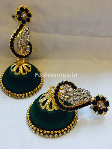 Dark Green and White Stone Studded Peacock Neck Floral Silk Thread Jhumkas-STJH-037