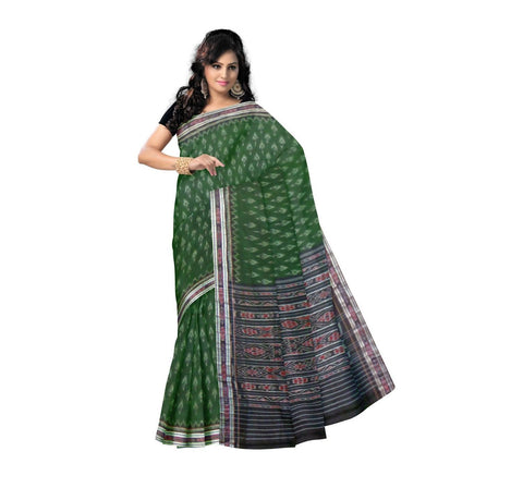 Dark Green with Black Pallu Handwoven Cotton Saree-OSS9054