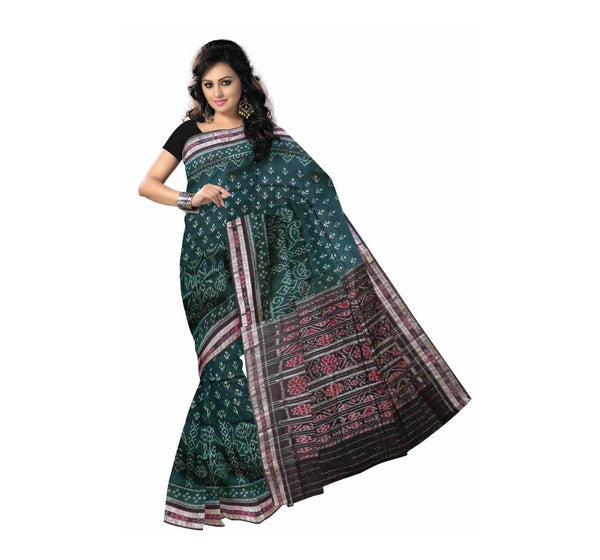 Dark Green with Brown Pallu Handloom Cotton Saree-OSS7455