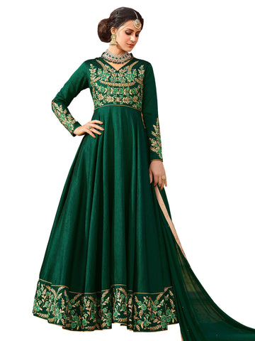 Dark Green with Floral Embroidery Anarkali Suit-LKEDM-138