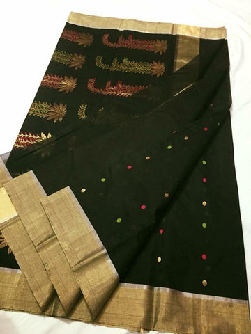 Dark Green with Golden Zari Chanderi Silk Saree-CHANSRE-061