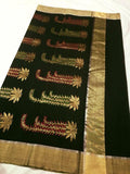 Dark Green with Golden Zari Chanderi Silk Saree