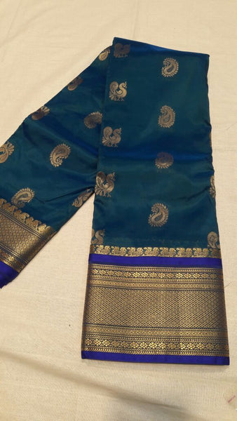 Dark Green with Peacock Designed Blue Border Paithani Saree-PAITHANI-033