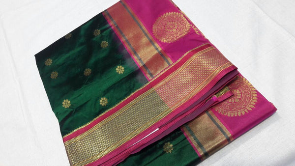 Dark Green with Peacock Designed Pink Pallu Paithani Saree-PAITHANI-027