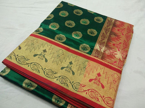 Dark Green with Peacock Designed on Golden Zari Border Paithani Saree-PAITHANI-115